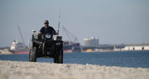 Image of a Geodynamics patrolling the shoreline.