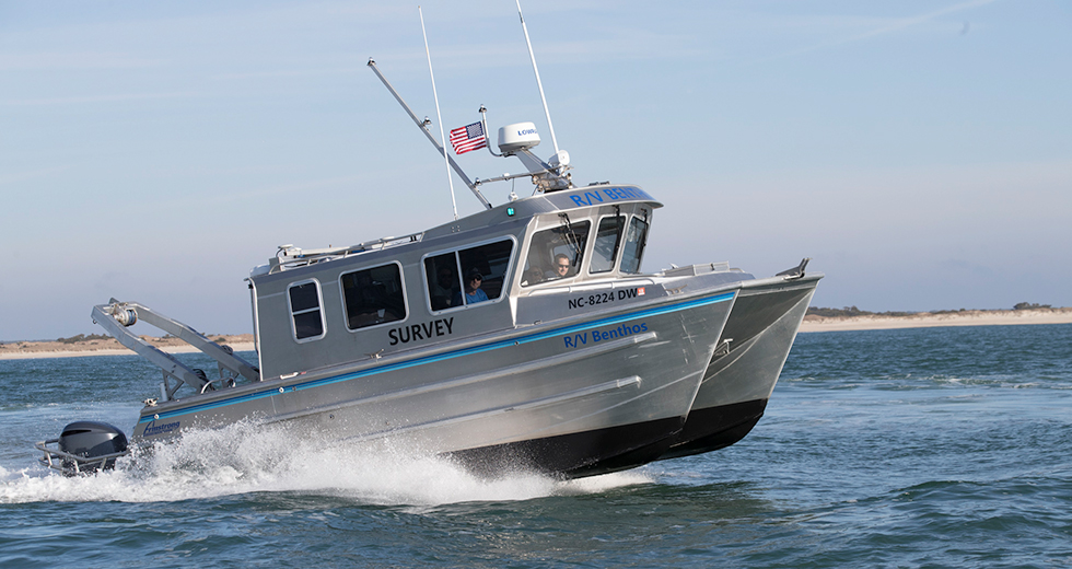 Image of the Geodynamics vessel patrolling the ocean.