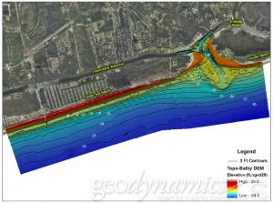Topo-bathy of the shallotte river mouth.