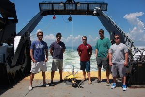 Image of Geodynamics team with their multi-beam sonar equipment.