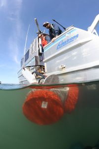 multibeam sonar heads deploy for bathymetric survey