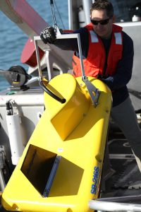 surveyor retrieves Edgetech sub-bottom sonar