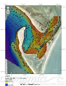depth elevation contours of Cape Lookout