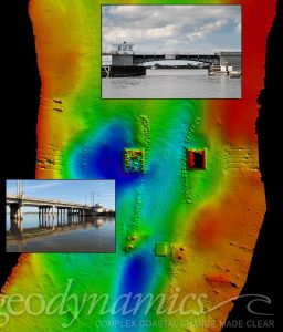 multibeam of bridge pilings and scour