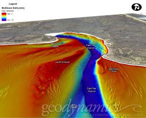 multibeam bathymetry of navigation channel inlet