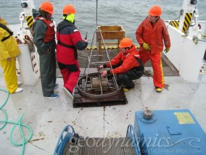 hydrographic technicians on vessel deck