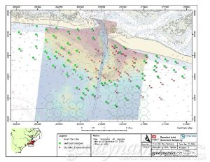 aerial map of bathymetry and sediment sample locations