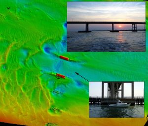 example of bathymetry with bridge pilings and scour
