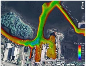 multibeam bathymetry of marina