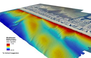 multibeam bathymetry offshore of beach shoreline