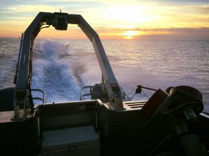 sunrise over survey vessel