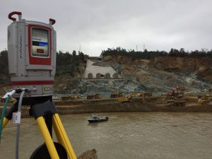 laser scanner with hydrographic boat in background