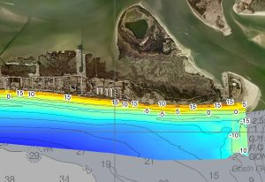 modeled hydrographic data offshore of beach