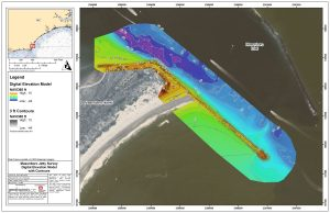 jetty map with bathymetry and elevation