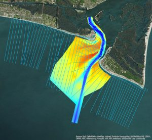 aerial map of multibeam inlet survey and beach profiles