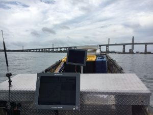 singlebeam sonar data acquisition on utility vessel